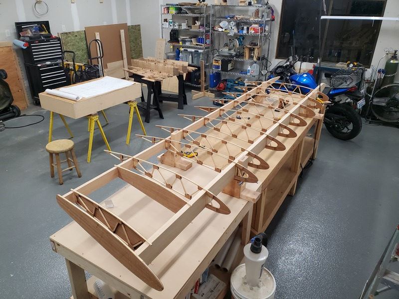 View of ribs assembled to spars