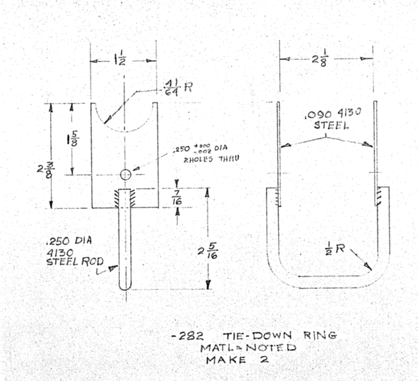 [Image showing plans to make the tie-down ring, part number -282, for a Marquart Charger]
